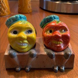 Vintage Anthromorphic  Fruit Salt Pepper Shakers